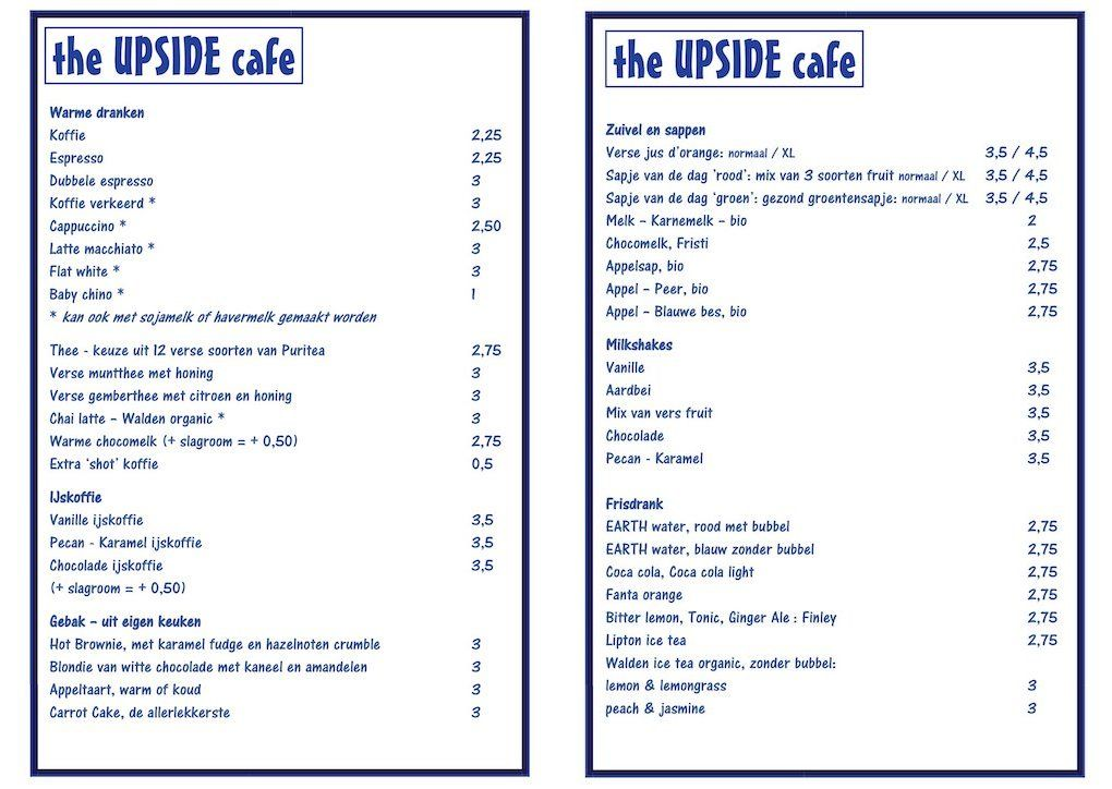 UPSIDE cafe menu